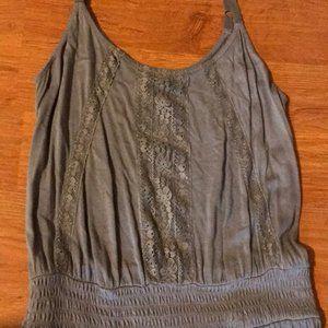Stretch Grey Summer Dress w/ Lace Applique